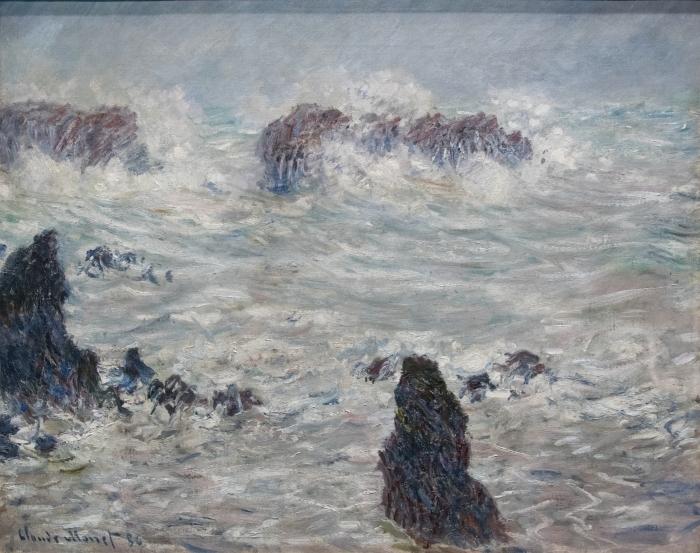 Pixerstick Aufkleber Claude Monet - Sturm an der Küste von Belle-Île - Reproduktion