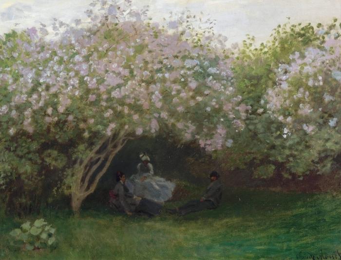 Pixerstick Aufkleber Claude Monet - Flieder, graues Wetter oder Entspannung unter dem Flieder - Reproduktion