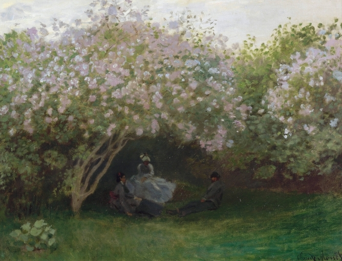 Naklejka Pixerstick Claude Monet - Krzaki bzu w pochmurny dzień - Reprodukcje