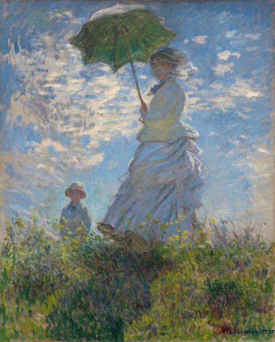 Vinyl Fotobehang Claude Monet - Vrouw met parasol gedraaid naar rechts - Reproducties