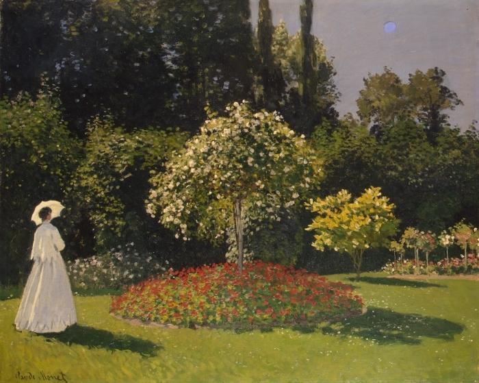 Naklejka Pixerstick Claude Monet - Kobieta w ogrodzie - Reprodukcje