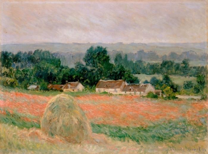 Pixerstick Aufkleber Claude Monet - Heuhaufen in Giverny - Reproduktion