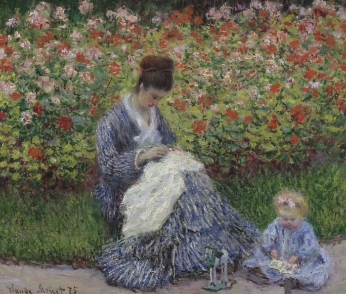 Naklejka Pixerstick Claude Monet - Camille Monet z synem w ogrodzie w Argenteuil - Reprodukcje