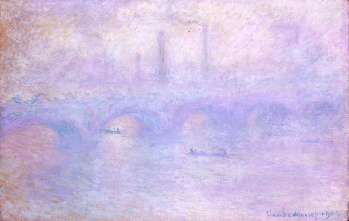 Naklejka Pixerstick Claude Monet - Most Waterloo we mgle - Reprodukcje