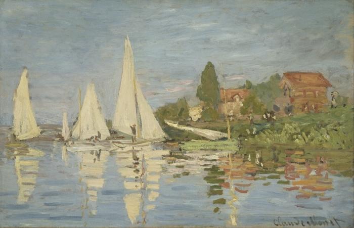 Papier peint vinyle Claude Monet - Régates à Argenteuil - Reproductions