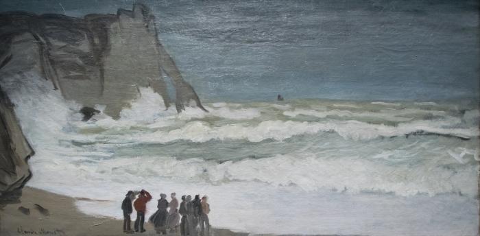 Papier peint vinyle Claude Monet - Mer agitée à Etretat - Reproductions