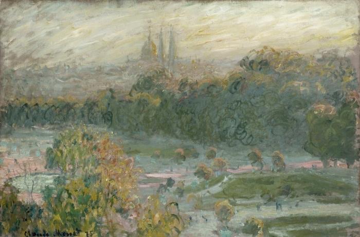 Pixerstick Aufkleber Claude Monet - Der Jardin des Tuileries (Studie) - Reproduktion