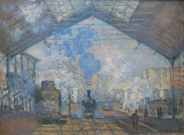 Papier peint vinyle Claude Monet - La Gare Saint-Lazare - Reproductions