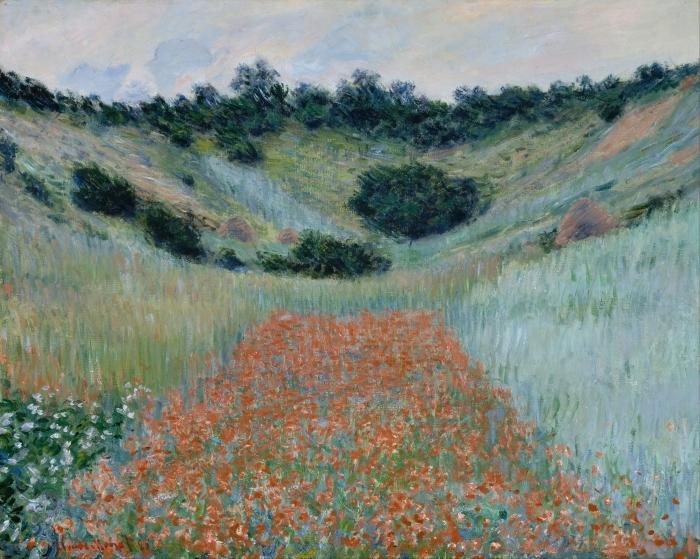 Claude Monet - Poppy kentän lähellä Givernyssä Vinyyli valokuvatapetti -