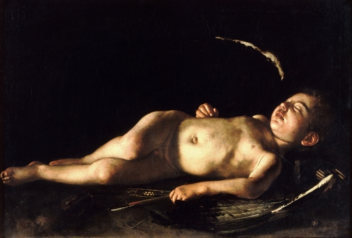 Pixerstick Aufkleber Caravaggio - Schlafender Amor - Reproductions