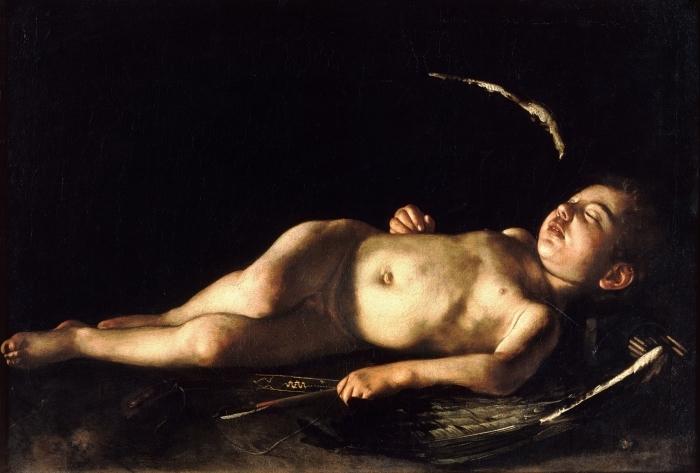 Naklejka Pixerstick Caravaggio - Śpiący Amor - Reproductions