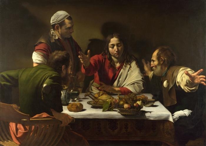 Vinilo Pixerstick Caravaggio - Cena en Emaús - Reproductions