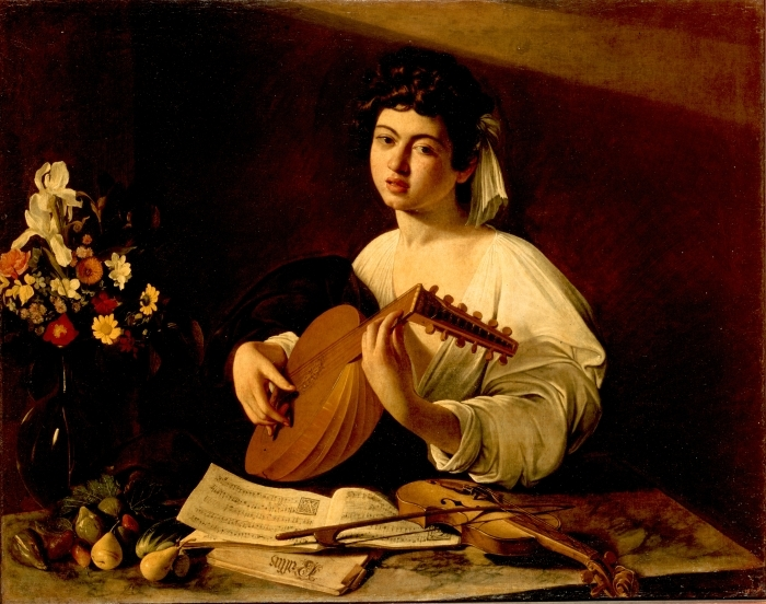 Naklejka Pixerstick Caravaggio - Lutnista - Reproductions