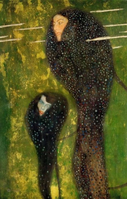 Gustav Klimt - Mermaids Pixerstick Sticker - Reproductions