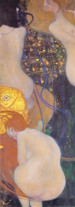 Pixerstick Aufkleber Gustav Klimt - Goldfische - Reproduktion