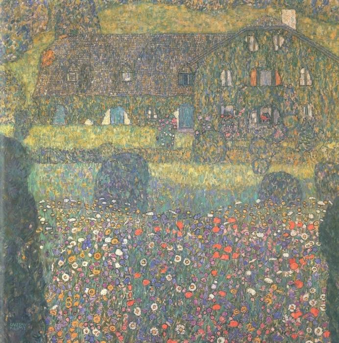 Fototapeta winylowa Gustav Klimt - Chatka nad jeziorem Attersee - Reprodukcje