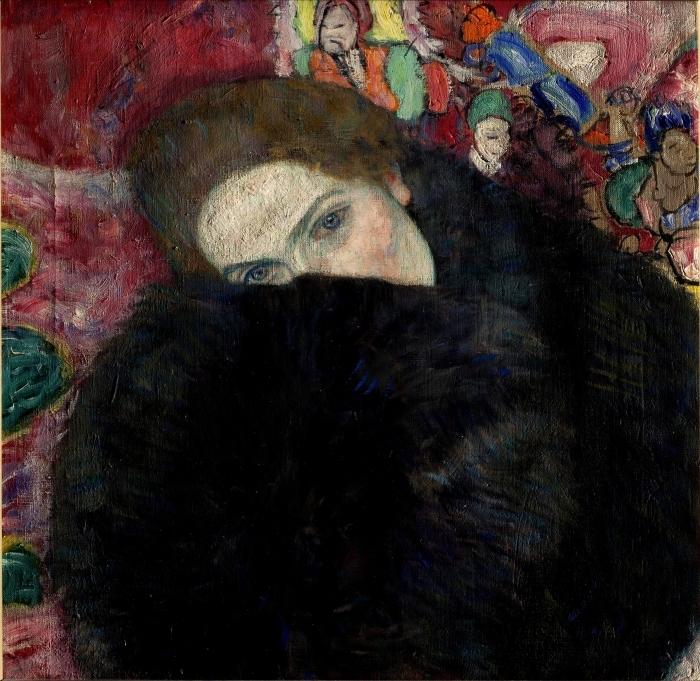 Pixerstick Aufkleber Gustav Klimt - Dame mit Hut und Federboa - Reproduktion
