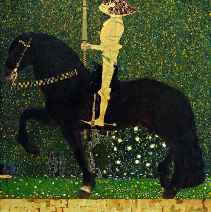 Naklejka Pixerstick Gustav Klimt - Życie jest walką. Złoty rycerz. - Reprodukcje