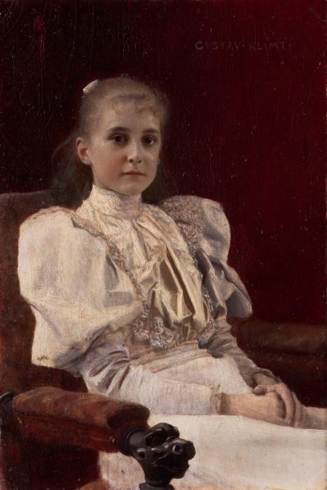 Naklejka Pixerstick Gustav Klimt - Siedząca młoda dziewczyna - Reprodukcje