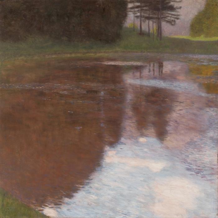 Naklejka Pixerstick Gustav Klimt - Spokojny staw - Reprodukcje