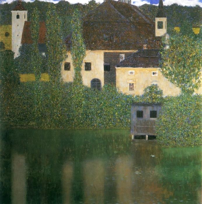 Naklejka Pixerstick Gustav Klimt - Zamek Kammer nad jeziorem Attersee - Reprodukcje