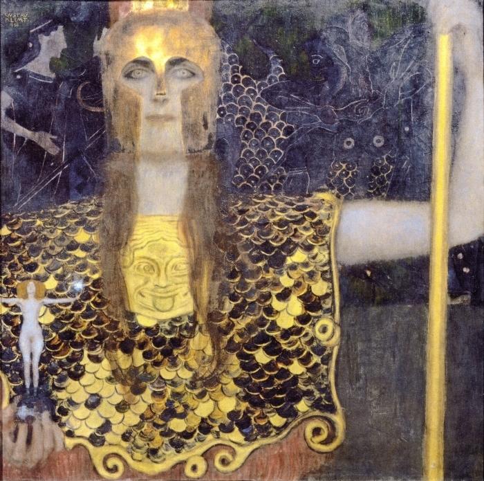 Gerahmtes Poster Gustav Klimt - Pallas Athene - Reproduktion
