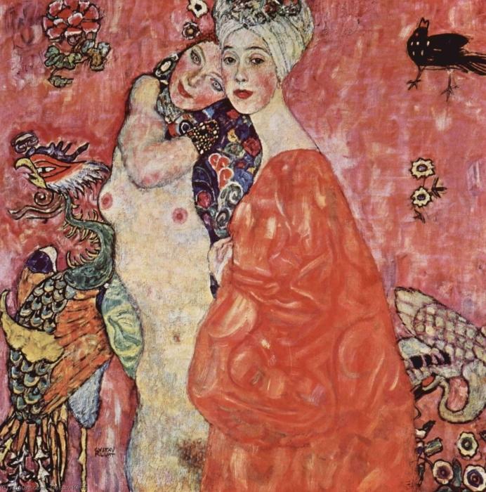 Naklejka Pixerstick Gustav Klimt - Przyjaciółki - Reprodukcje