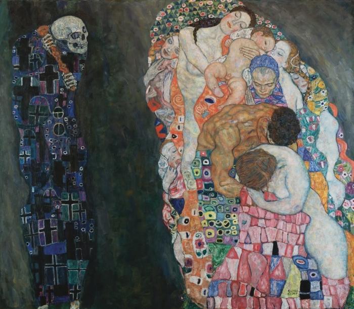 Naklejka Pixerstick Gustav Klimt - Życie i śmierć - Reprodukcje