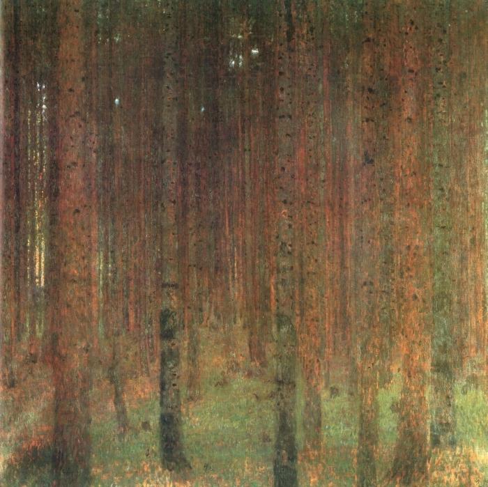 Papier peint vinyle Gustav Klimt - Forêt de pins - Reproductions