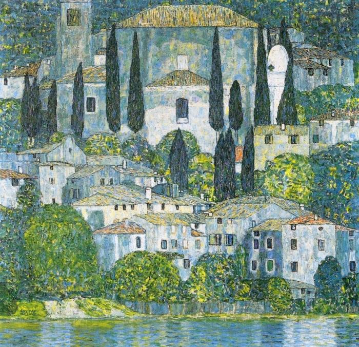 Pixerstick Aufkleber Gustav Klimt - Kirche in Cassone - Reproduktion
