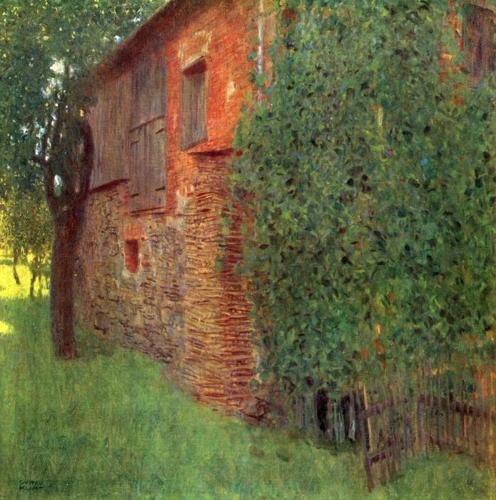 Pixerstick Aufkleber Gustav Klimt - Bauernhaus in Kammer am Attersee (Mühle) - Reproduktion