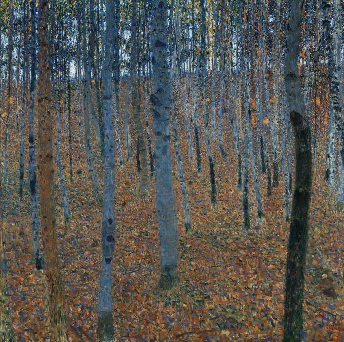 Naklejka Pixerstick Gustav Klimt - Brzozowy las - Reprodukcje