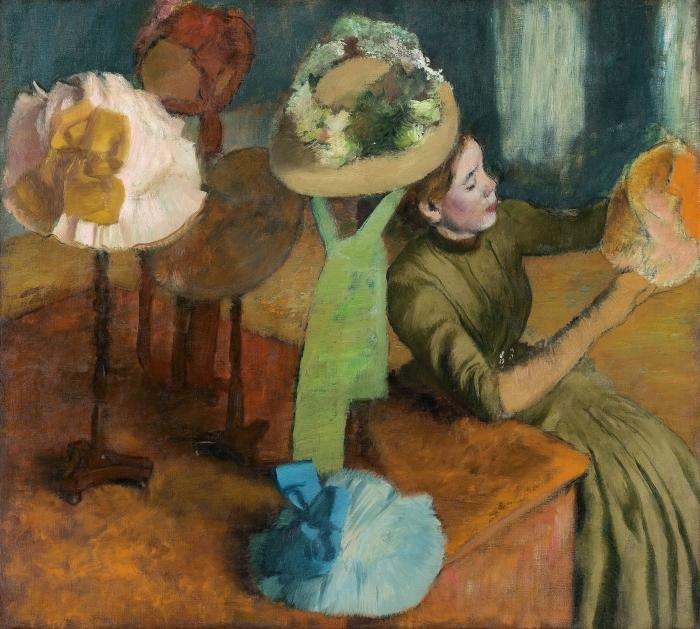 Naklejka Pixerstick Edgar Degas - Sklep z kapeluszami - Reprodukcje