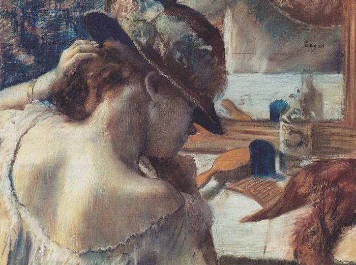 Papier peint vinyle Edgar Degas - Devant le miroir - Reproductions