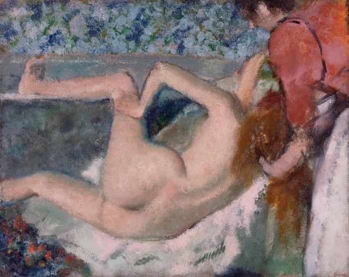 Papier peint vinyle Edgar Degas - Après le bain - Reproductions