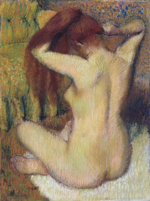 Papier peint vinyle Edgar Degas - Femme se peignant - Reproductions