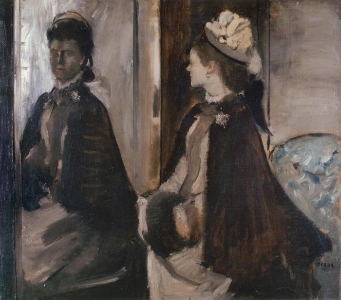 Pixerstick Sticker Edgar Degas - Madame Jeantaud voor de spiegel - Reproducties