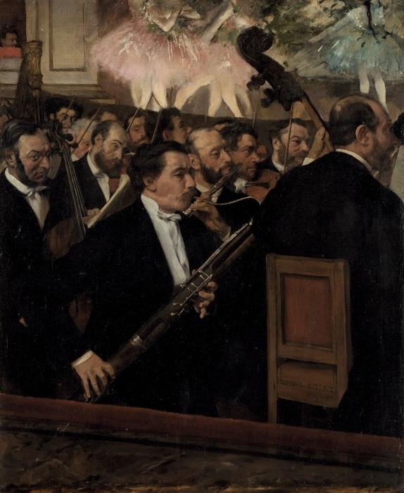 Naklejka Pixerstick Edgar Degas - Orkiestra Opery Paryskiej - Reprodukcje