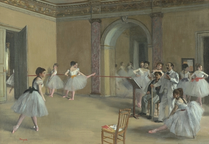 Pixerstick Aufkleber Edgar Degas - Ballettsaal der Oper in der Rue Le Peletier - Reproduktion