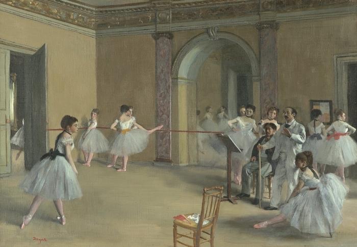 Naklejka Pixerstick Edgar Degas - Sala prób w Operze przy Rue Le Peletier - Reprodukcje