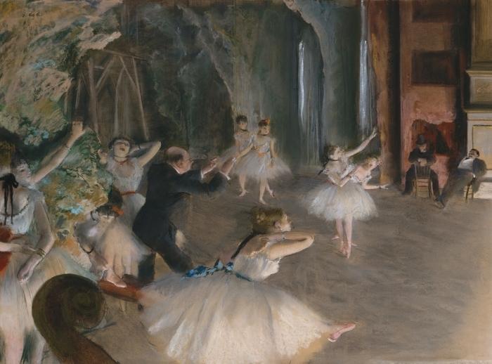 Papier peint vinyle Edgar Degas - Répétition d'un ballet sur la scène - Reproductions