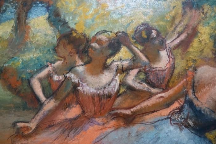 Naklejka Pixerstick Edgar Degas - Cztery tancerki na scenie - Reprodukcje
