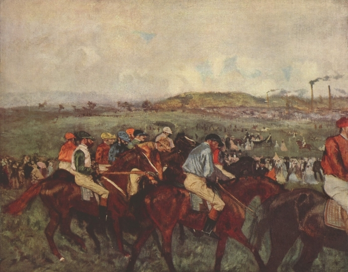 Vinyl Fotobehang Edgar Degas - Paardenrennen - Reproducties