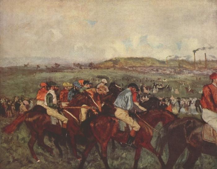 Naklejka Pixerstick Edgar Degas - Wyścigi konne - Reprodukcje