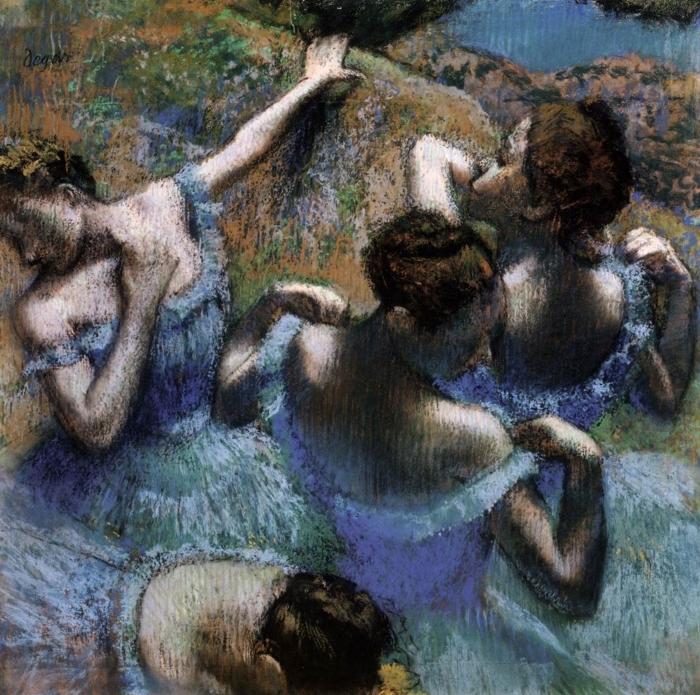 Papier peint vinyle Edgar Degas - Les danseuses bleues - Reproductions