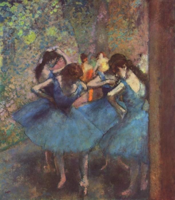 Pixerstick Aufkleber Edgar Degas - Tänzerinnen in Blau - Reproduktion