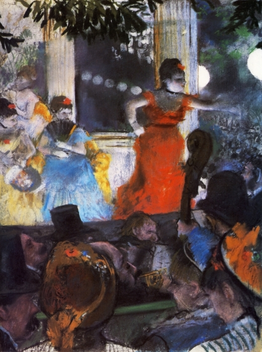 Naklejka Pixerstick Edgar Degas - Koncert w kawiarni Aux Ambassadeurs - Reprodukcje