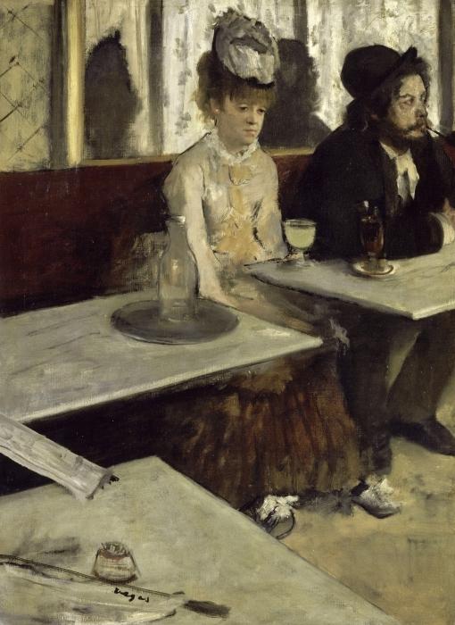 Pixerstick Aufkleber Edgar Degas - Der Absinth (In einem Café) - Reproduktion