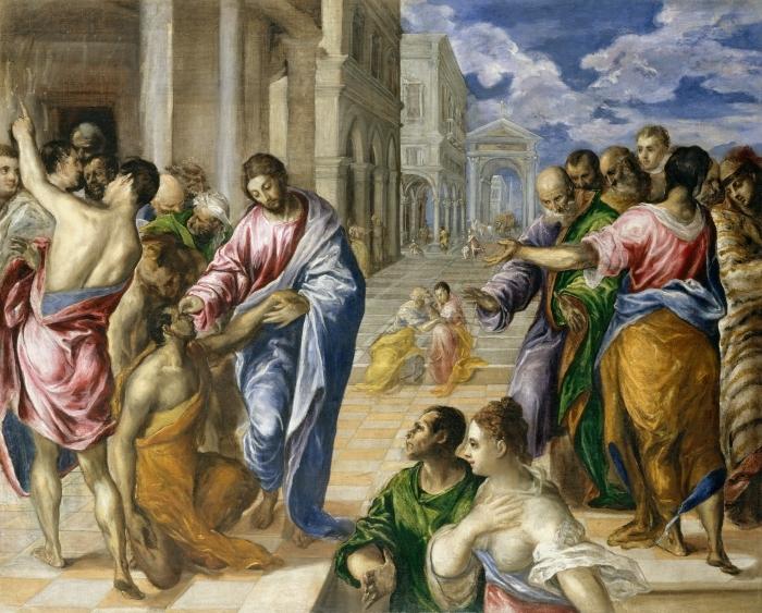Papier peint vinyle Le Greco - Le Christ guérissant un aveugle - Reproductions