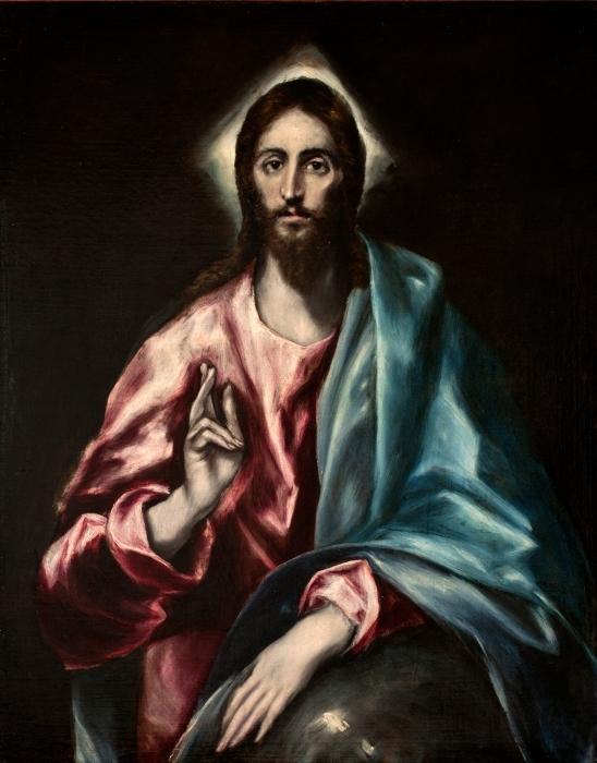 Papier peint vinyle Le Greco - Salvator Mundi (Le Sauveur) - Reproductions